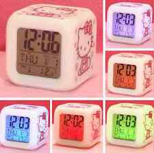 Cute Cat Color Change LED Alarm Clock Time Data Week Temperature Kids Gift