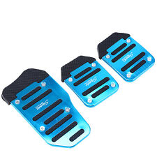 3Pcs Set Non-slip Car Auto Aluminium Alloy Foot Treadle Blue Pedals Cover Pad