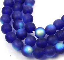 50 Czech Frosted Sea Glass Round Beads - Matte Cobalt AB  6mm
