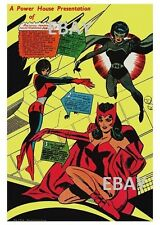 POWER PIN-UP Print - BLACK WIDOW WASP SCARLET WITCH Vintage Art  Marvel UK Dist