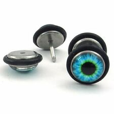 Mens Stainless Steel Evil Eye Stud Earrings, Blue Black  HE733
