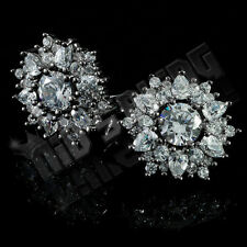 18K Black Gold Plated ICED OUT Simulated Diamond Round Stud Micropave Earrings
