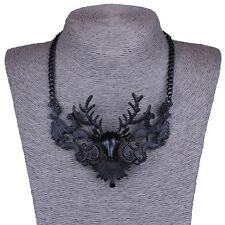 Black Metallic Elk Xmas Christmas Collar Chunky Chain Necklace Fashion