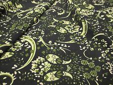 """Verde Estampado """"Wonderland"""" Summer Flores Retro Tela del vestido. 58 pulgadas de ancho."""