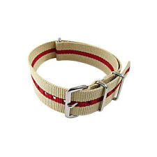 20mm Sand & Red Bond - Nylon G10 Ballistic Military Watch Band Strap - NEW