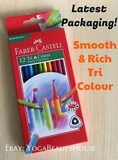 NEW PACKAGE Faber Castell 12pc Tri Colour Pencil (blend draw art craft burnish)