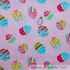 BonEful Fabric FQ Cotton Quilt Pink Purple Birthday Girl Cup*Cake Heart Dot STAR