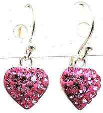 925 Sterling Silver Czech Crystal Heart Dangle Earrings CZ LOVE Hot Pink Fuchsia