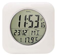 AMS 5930 Baduhr Funkuhr digitale Wanduhr Tischuhr Temperaturanzeige weiss