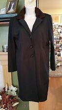 Womens M (32/34) Kathie Lee Button Up Black With Faux Fur Around Coat Collar