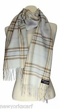 CASHMERE SCARF CHECK PLAID DESIGN COLOR Light Blue Brown SOFT UNISEX LOOP WOOL