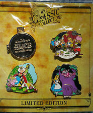 DISNEY WALT'S CLASSIC COLLECTION ALICE IN WONDERLAND 4 PIN SET LE 2000 MOC RARE!