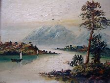 HUGH CHURCH - ANTIQUE OIL PAINTING ON BOARD - LOCH KATRINE SCOTTISH SCENE