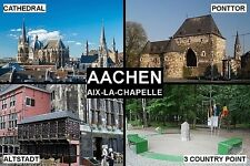 SOUVENIR FRIDGE MAGNET of AACHEN GERMANY & AIX-LA-CHAPELLE