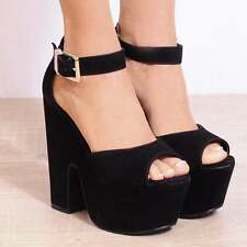 BLACK PEEP TOE CHUNKY BLOCK PLATFORM WEDGE ANKLE STRAP HIGH HEELS SHOES SIZE UK6