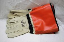 """CONDOR Electrical Glove Protector, Beige/Orange, Cowhide Leather, 15"""" Length"""
