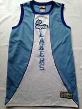 LOS ANGELES LAKERS Jersey Mens L NBA Vtg Throwback Blue Majestic Hardwood