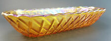 Carnival Glass Banana Boat Scalloped Diamond Pattern Iridescent Bowl Dish Long