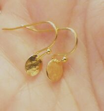 Tiny Hammered Gold Oval Earring Drops