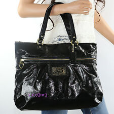 NWT Coach Poppy Daisy Liquid Gloss Tote Bag F20004 Black Patent Leather NEW RARE