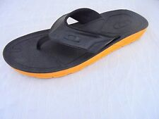 Oakley Mens 10 Flip Flop Sandals Black Rubber Orange Soles