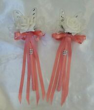 Wedding Flowers Bridesmaids Flower Girl Butterfly Wands Ivory Peachy/Light Coral