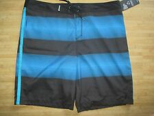 NEW* HURLEY DOS BOARDSHORTS SHORTS MENS 42 Swimsuit Black Blue Stripes