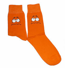 Sad Face With White Eyes on Orange Socks, Great Novelty Gift