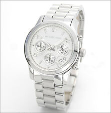 NEW MICHAEL KORS SILVER TONE STAINLESS STEEL RUNWAY CHRONOGRAPH WATCH-MK5076