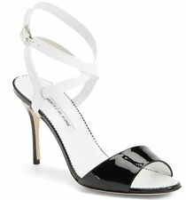 NEW Manolo Blahnik Llonica Bicolor Patent Leather Sandal Heel Black White 40 -10
