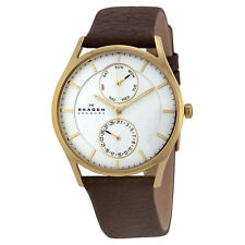 Skagen Men's Holst Multi-Function White Dial Brown Leather Watch SKW6066
