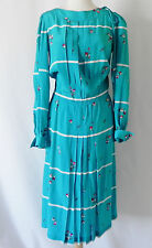 French Vintage A Fragonard Derss Silk Turquoise Long Sleeve Pleated Size M/L