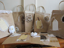 Sale 5 Assorted Medium Rustic Shabby Chic Hotel Wedding Guest Gift Bags8x4.75x10