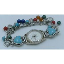 .925 Sterling Silver Multi-gemstone Turquoise Charm Heart Wristwatch