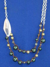 Robert Lee Morris SOHO Silver Plated Green Faux Pearl Layer Necklace $45