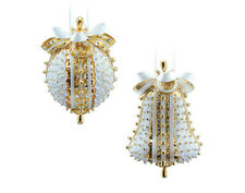 Pinflair Sequin & Pin Christmas Craft Kit - 2 Gold & White Bauble Ornaments