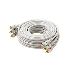Eagle 50' FT 3 RCA Component Cable Video Audio Ivory Python Double Shielded Home