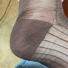 "18 PAIR THICK THIN SILKY SHEER FOOT 2 1/2"" TOE BROWN MEN 10-13 100% NYLON SOCKS"