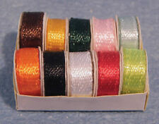 Ribbon Spools, Dolls House Miniature, Sewing Room Accessory 1.12th Scale