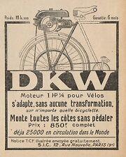 Y8285 D.K.W. Moteur 1 Hp 1/4 pour Vélos - Pubblicità d'epoca - 1923 Old advert