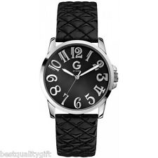G BY GUESS BLACK QUILTED PATENT LEATHER+SILVER TONE WHIMSICAL WATCH G59024L2