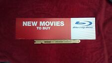 "24"" x 6 1/2"" New Movies to Buy ~ Blu-ray Disc Header Card Sign Flexible Plastic"