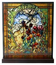 "Tiffany Style THE FOUR SEASONS ""SPRING"" Stained Art Glass Window Panel Display"