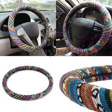 Universal 15'' 38cm Car Van Natural Fiber Steering Wheel Cover Wrap Non-slip New