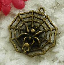 free ship 18 pieces bronze plated cobweb pendant 30x27mm #2015