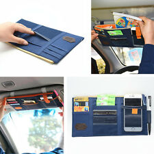 Car Blue Sun Visor Shield Board Storage Cover Bag Phone Cards Pocket Organizer