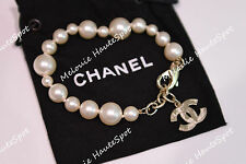 AUTH LIMITED CHANEL CC LOGO EARTH ANNIVERSARY WHITE UNEVEN PEARL BRACELET NEW