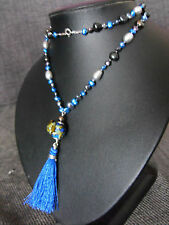 Necklace BLACK SILVER BLUE PEARL knotted SILK MURANO FROG 925 sterling silver 24