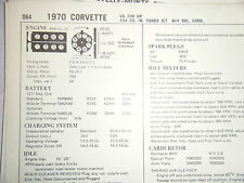 1970 CHEVY CORVETTE TURBO JET 454 390 HP 4 BBL CARB SUN TUNE UP SPECS SHEET