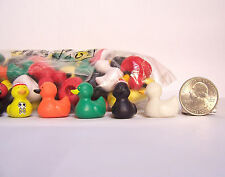 """20 pieces Mini Tiny Rubber Ducky Duck Duckies Pencil Topper 1"""" figurines PVC"""